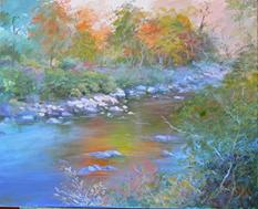 reflections, landscape, stream, oil